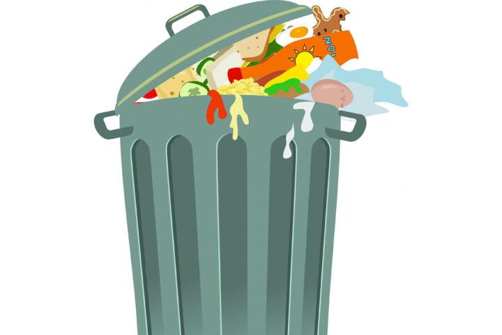Matavfall i overfylt søplekasse